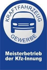 Das blaue Siegel des Meisterbetriebs der KFZ Innung
